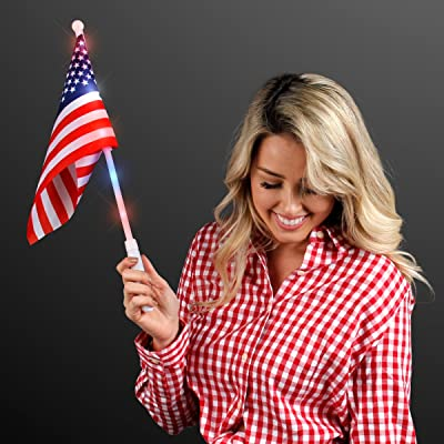 FlashingBlinkyLights American Flags with Light Up Poles (Set of 12): Toys & Games