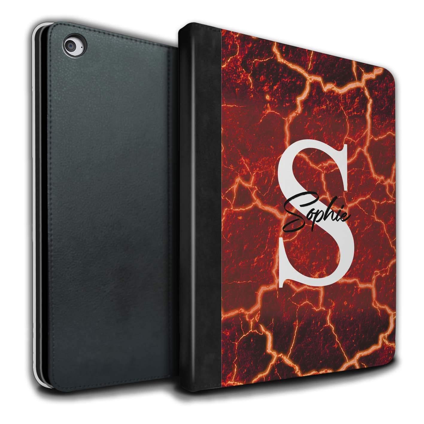 eSwish Apple iPad Air 2タブレット用PUブック/カバーケース ティールグリーンモノグラム/カスタムマーブルストーンファン MR-IPA2-TSBL-DD-STNDIY-7  Cracked Molten Lava B07LCTVC61