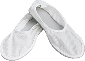 Secure SRSS-1L Slip Resistant Shower Shoes with Non Skid Heavy Duty Grooved Sole for Fall Injury Prevention - Sized for Men & Women - Slippers for Home, Gym, Spa, Sauna (Large)