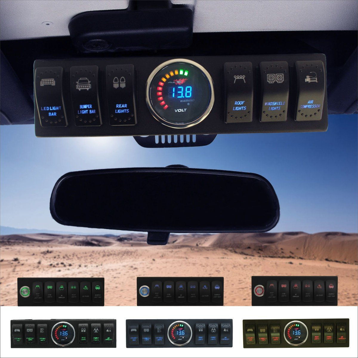 Apollointech Jeep Wrangler Jk Jku 2007 2018 Overhead 6 Auxiliary Light Wiring Guide Far Corners Switch Pod Panel With Control And Source System Blue Back Comes 10 Laser