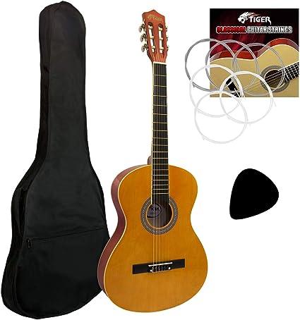 Tiger - Guitarra de concierto (tamaño 4/4, incluye accesorios ...