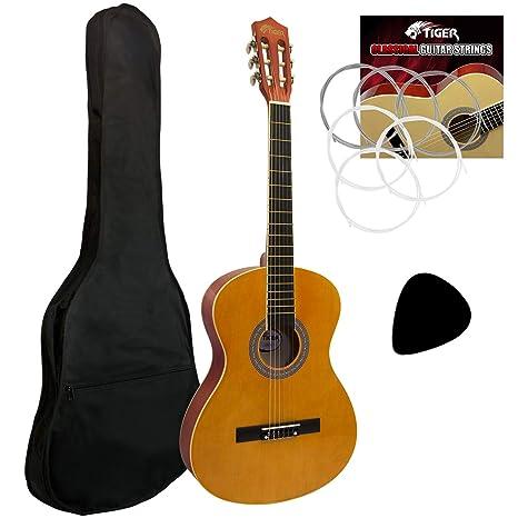 Tiger - Guitarra de concierto (tamaño 4/4, incluye accesorios), color