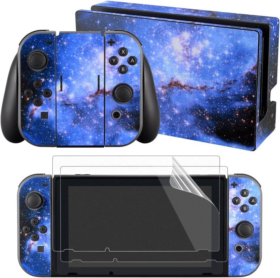 eXtremeRate Conjunto Completo de Pegatinas Cubierta Adhesiva Protectora de Piel Kit de protección para Consola Joy-con Radiador de Nitendo Switch con 2 Protectores de Pantalla Galaxia Azul