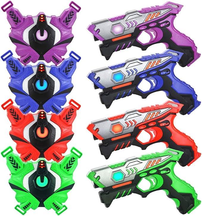 TINOTEEN infrarrojo Laser Tag Armas y Chalecos Juego de 4