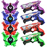 TINOTEEN Laser Tag Guns Set with Vests Guns Set of 4 Players
