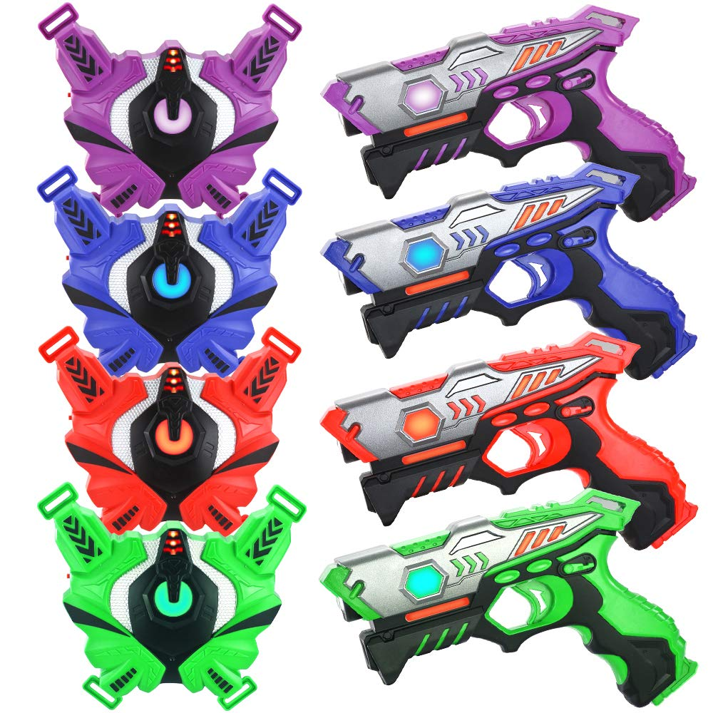 Laser Tag Guns Set with Vests, Infrared Guns Set of 4 Players by TINOTEEN