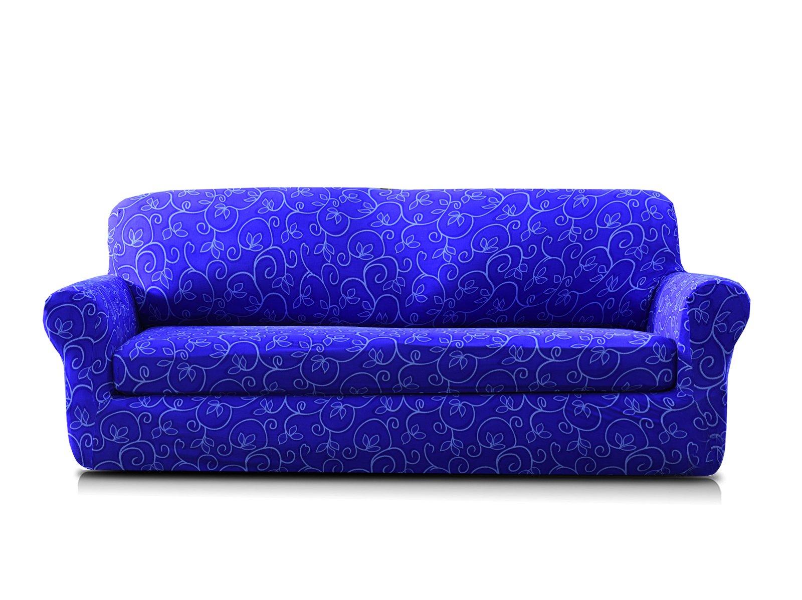 TIKAMI 2-Piece Spandex Printed Fit Stretch Sofa Slipcovers (Loveseat, Blue Flower)
