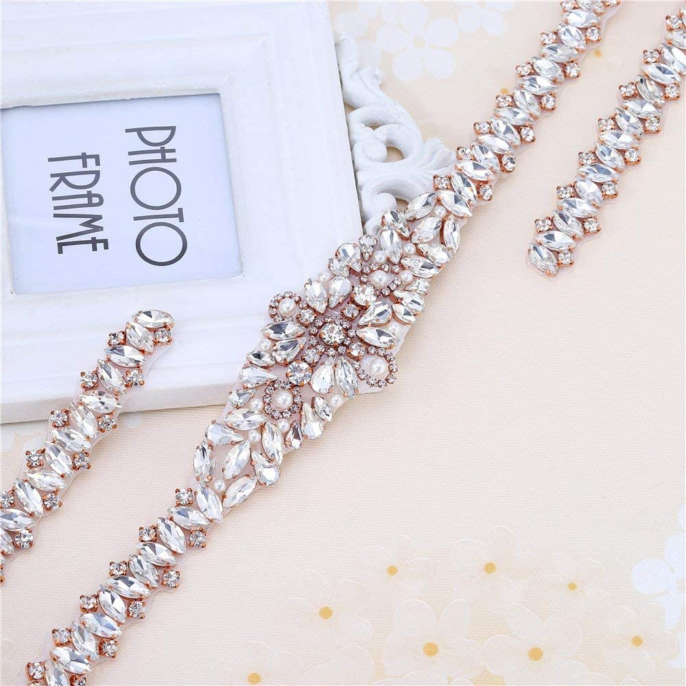 Silver FANGZHIDI Rhinestone Applique Rose Gold Beaded Crystal Simple Classic for Wedding Dress and Sash by Sewing or Ironing on-1 Piece