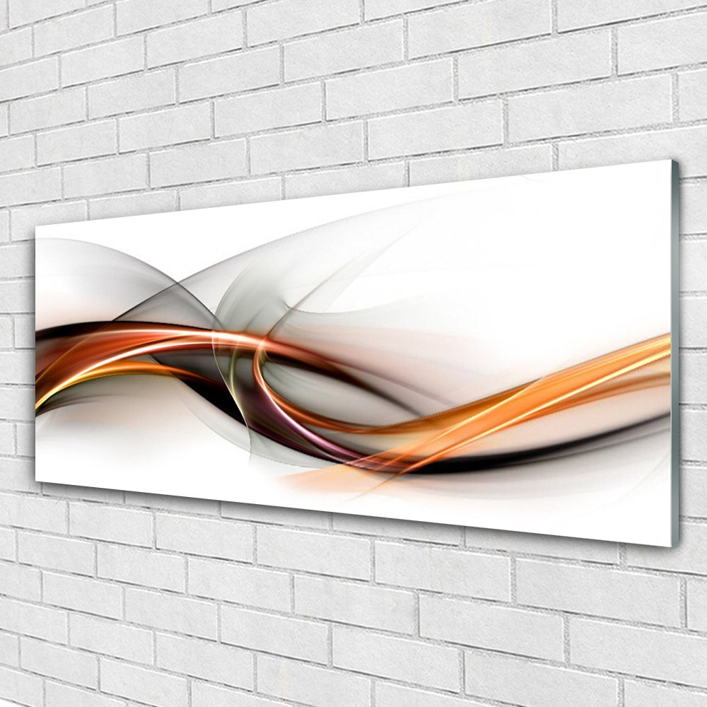 Glass Print Wall Art by Tulup 125x50cm Image printed on Glass - Wall Picture behind Toughened / Tempered Safety Real Glass - Abstract Art - Yellow Brown Grey White