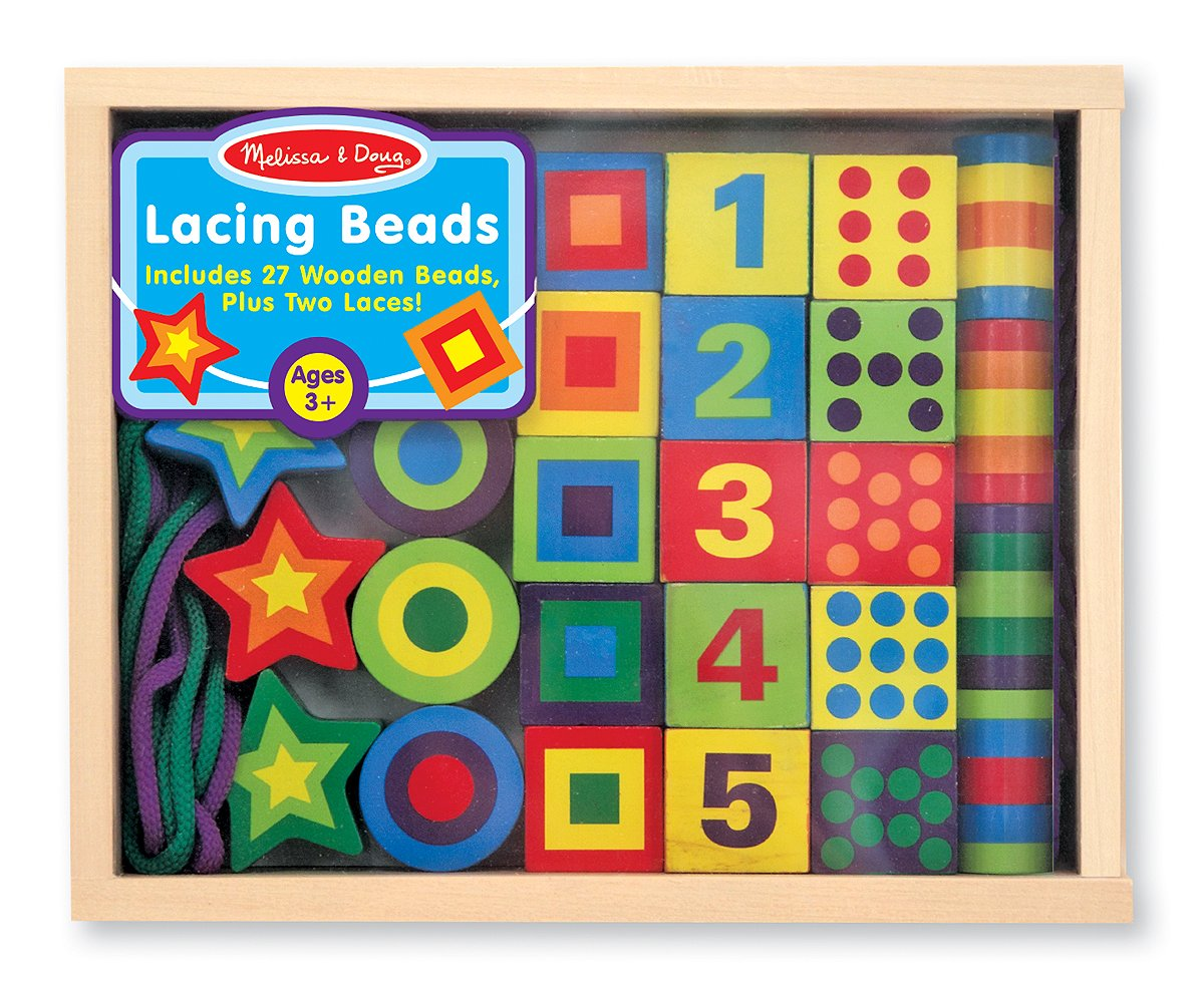 Melissa & Doug Deluxe Wooden Lacing Beads - Educational Activity With 27 Beads and 2 Laces 3775