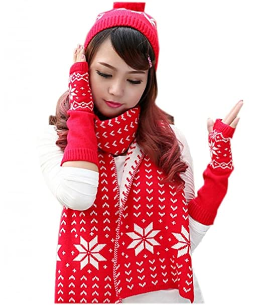 Gellwhu Women s Girls Woolen Yarn 3 Piece Snowflake Hat Gloves and Scarf  Sets (Red) at Amazon Women s Clothing store  408a01eaa58