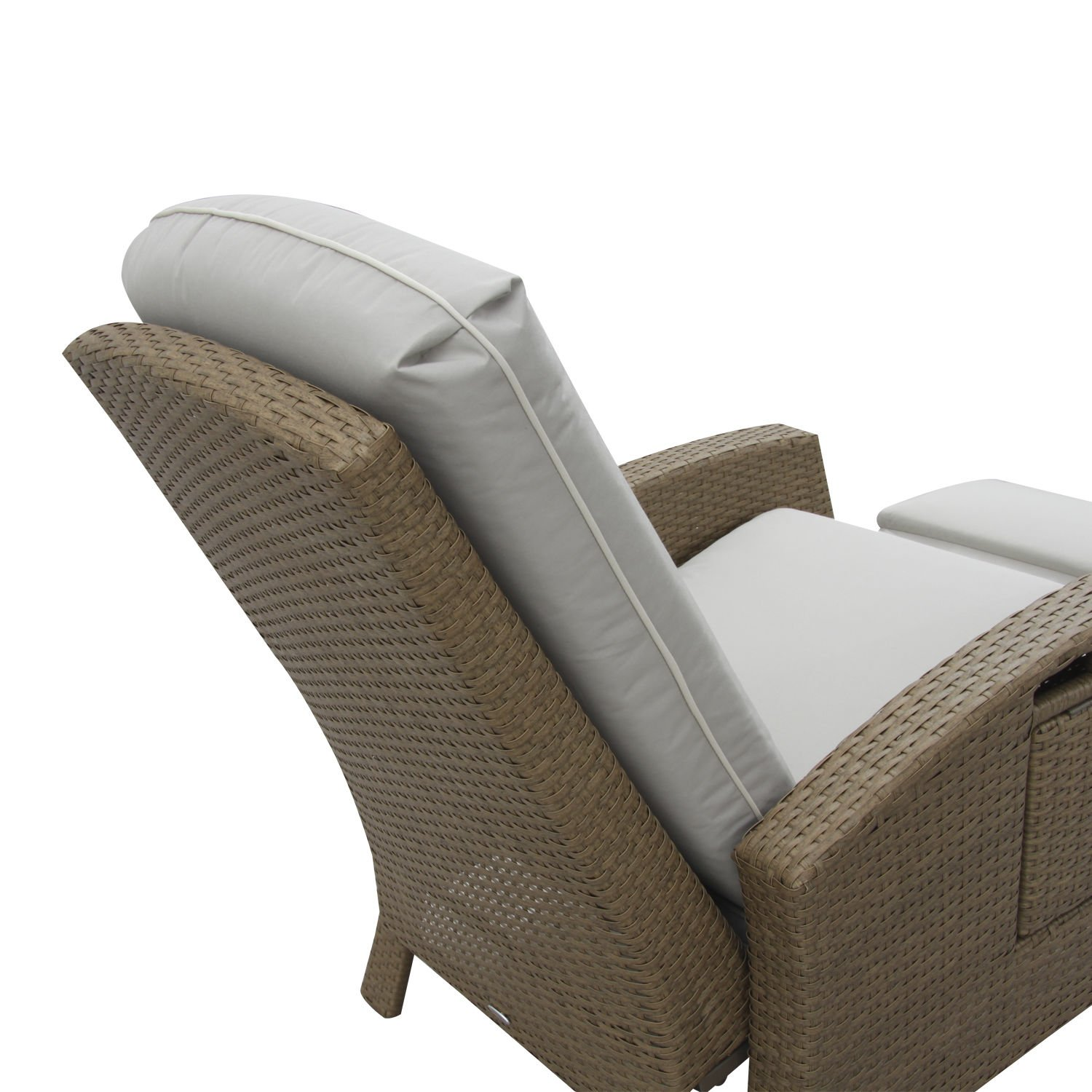 Outsunny Outdoor Rattan Wicker Adjustable Recliner Lounge Chair - Beige and Gray
