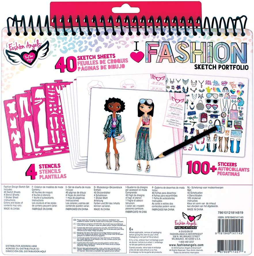 Fashion Angels Fashion Design Sketch Portfolio (11451) Full Size Sketch Book, Fashion Coloring for Kids,Brown/A: Toys & Games