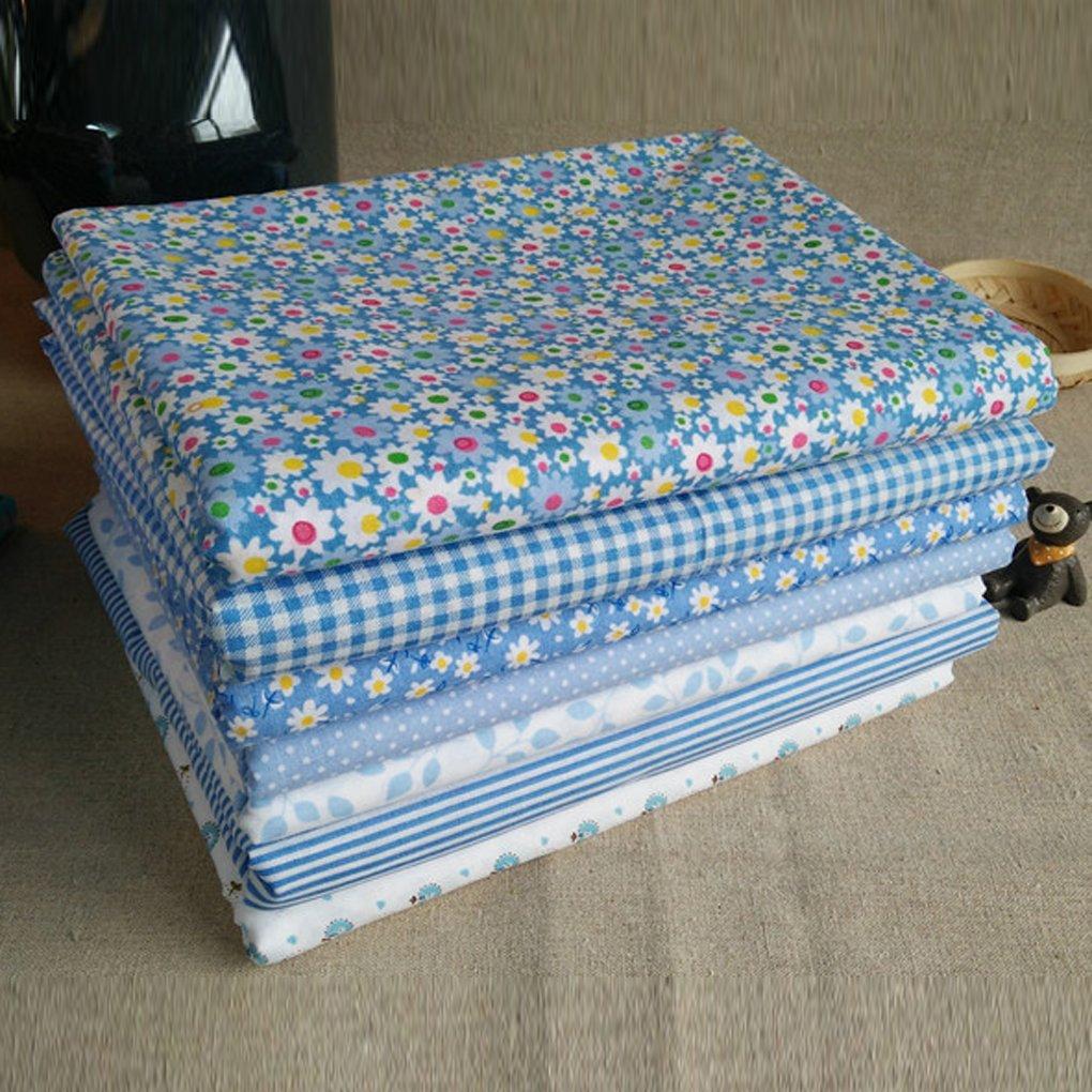 LUFA 7pcs Serie Azul de algodón de Tela de Flores patrón Floral de Costura de Material Textil para Cama de Remiendo de Bricolaje