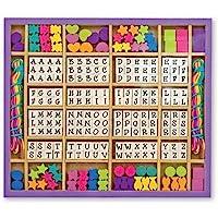 Melissa & Doug ¡Hecho por mi! Set de lujo de cuentas de madera del alfabeto (kit para hacer joyería, más de 200 cuentas, 8 cordones)