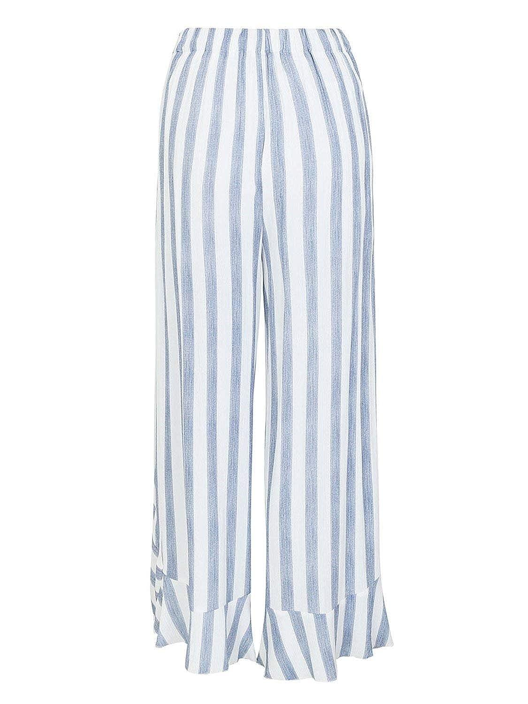 Emmala Elegantes Verano Mujer con Volantes Irregular Lazo Taille Flecos  Elastische Pantalon Bandage Anchos Falda Cómodo Pantalon Baggy Casual  Largos ... ffe1537d35ba