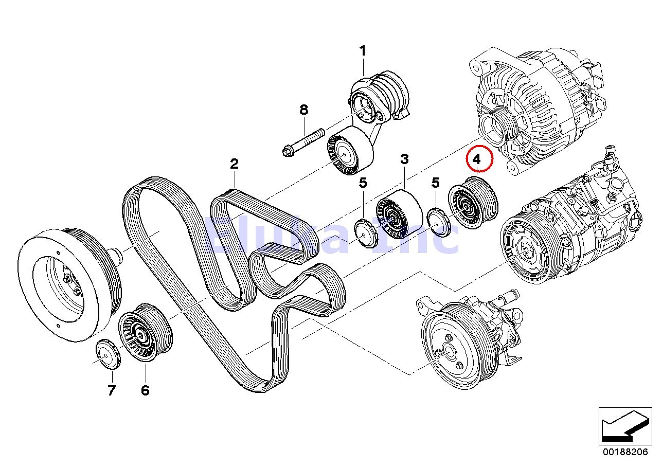 BMW Genuine Deflection Pulley - Alternator A/C Ac Power Steering Belt X6 35iX 740i 740Li