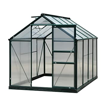 62a2b6c70cd Outsunny Clear Polycarbonate Greenhouse Large Walk-In Green House Garden  Plants Grow Galvanized Base Aluminium Frame w Slide Door (6ft x 8ft)   Amazon.co.uk  ...
