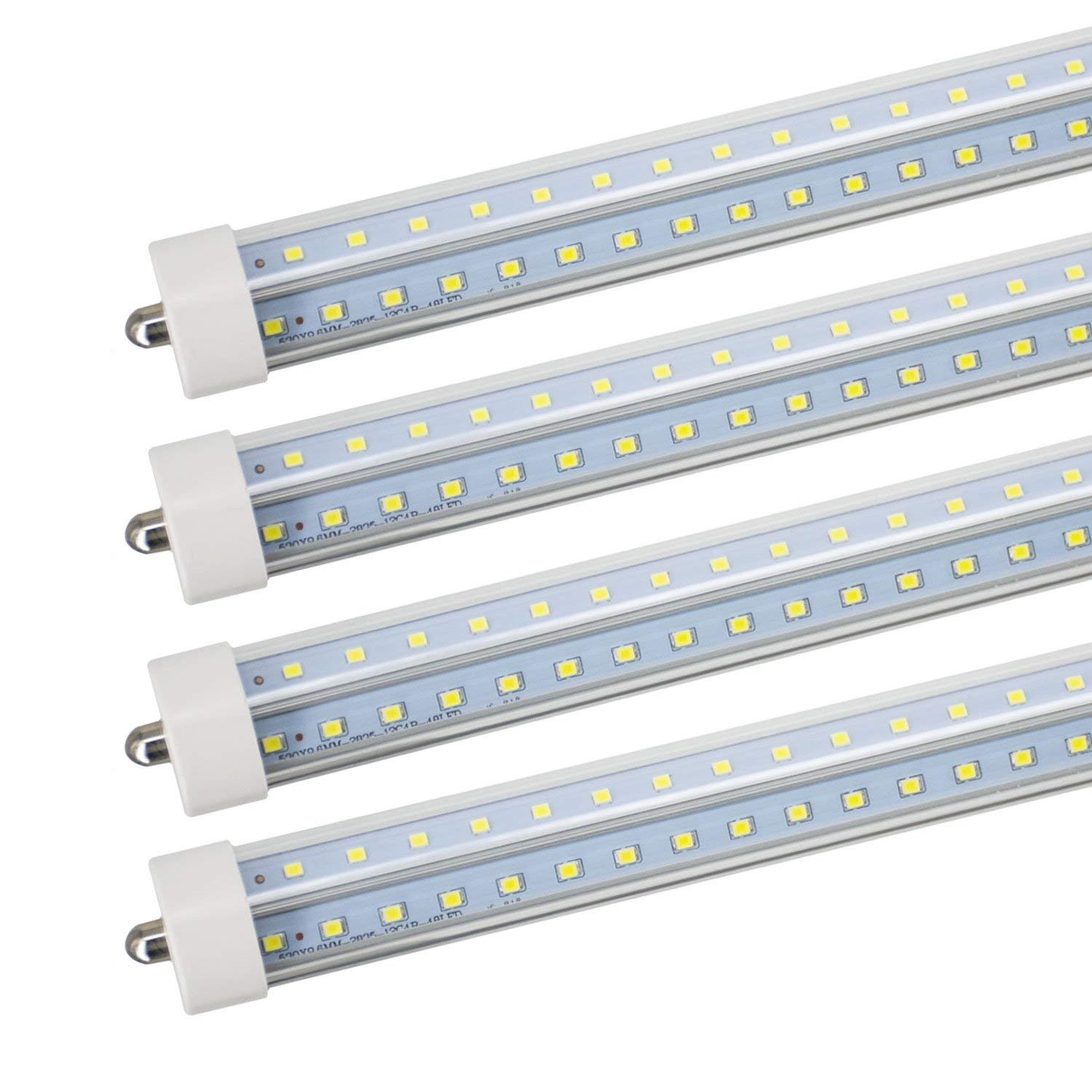 JESLED T8/T10/T12 8FT LED Tube Light, Single Pin FA8 Base, 50W 6000LM 5000K Daylight White, 270 Degree V Shaped LED Fluorescent Bulb (130W Replacement), Clear Cover, Dual-Ended Power (4-Pack)