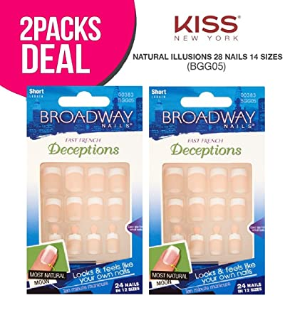Amazon.com : (2-PACK) Broadway Natural Illusions 28 Nails 14 Sizes ...