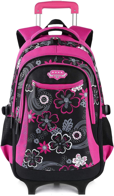 Fanspack Rolling Backpack for Girls Backpack with Wheels kids Rolling Bookbag School Roller Backpack Waterproof Backpack