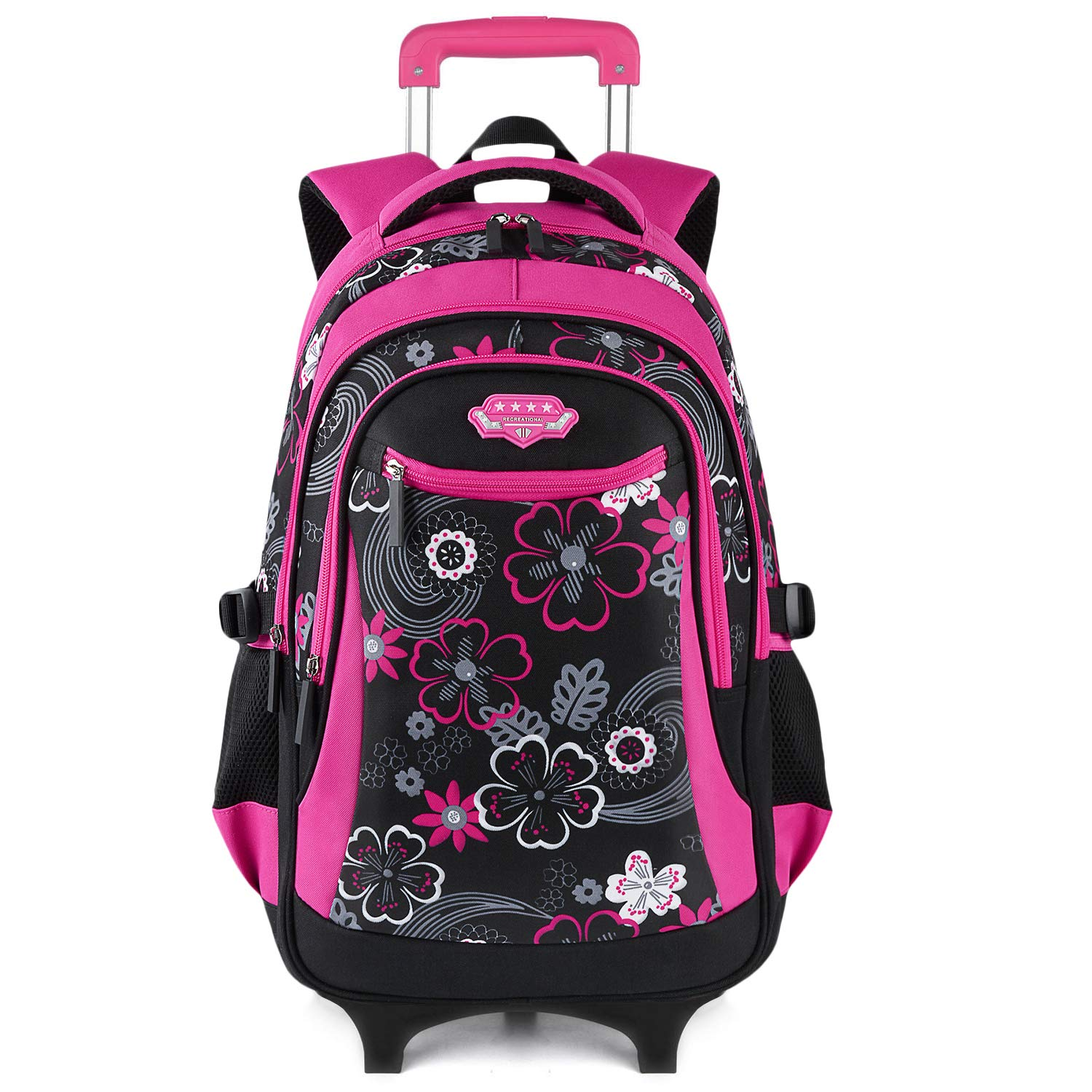 Wheeled Backpack, Fanspack 2019 New Rolling Backpack for Girls School Roller Backpack kids Rolling Bookbag Waterproof Backpack by Fanspack