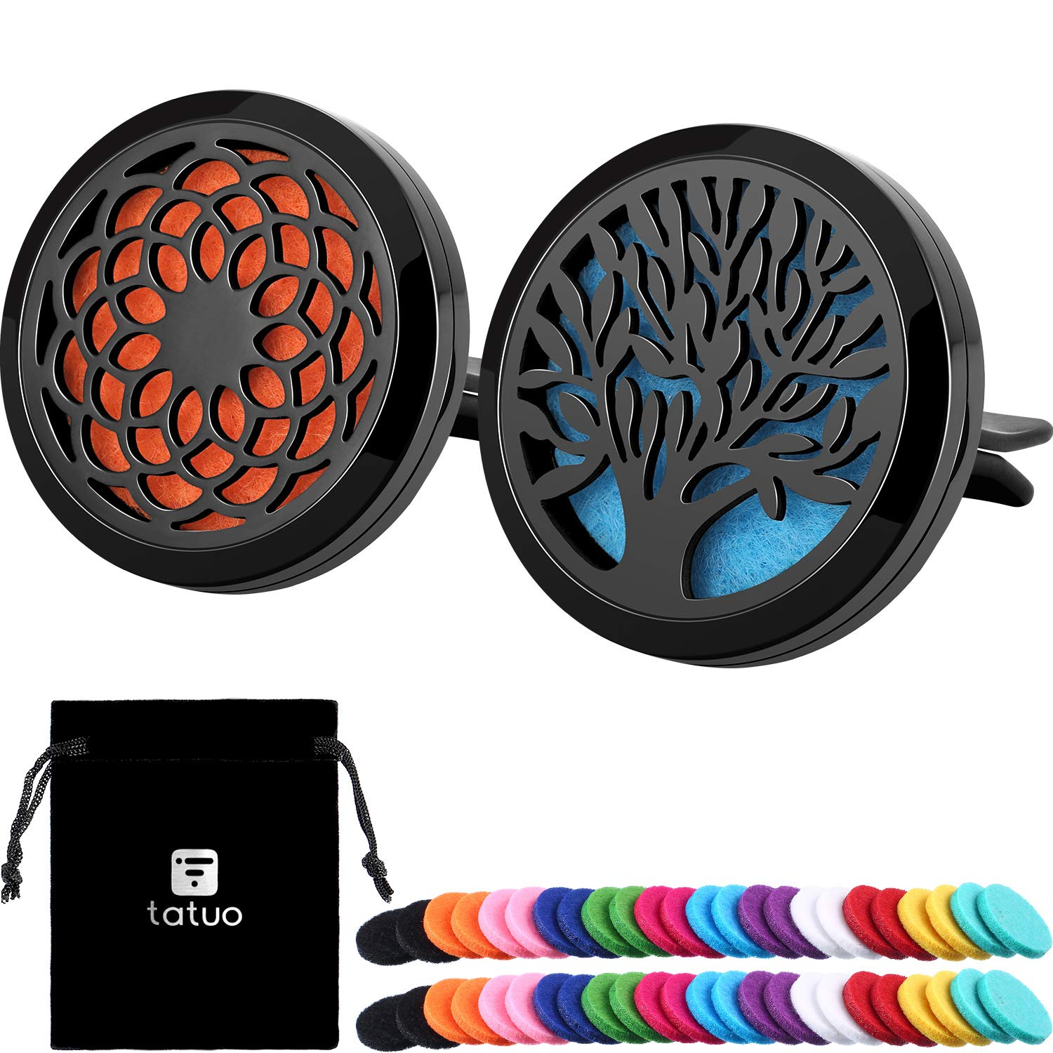 Tatuo 2 Pieces 316L Stainless Steel Car Aromatherapy Essential Oil Diffuser Air Freshener Vent Clip Locket with 48 Pieces Replacement Felt Pad (Sunflower, Tree Patterns-Black)
