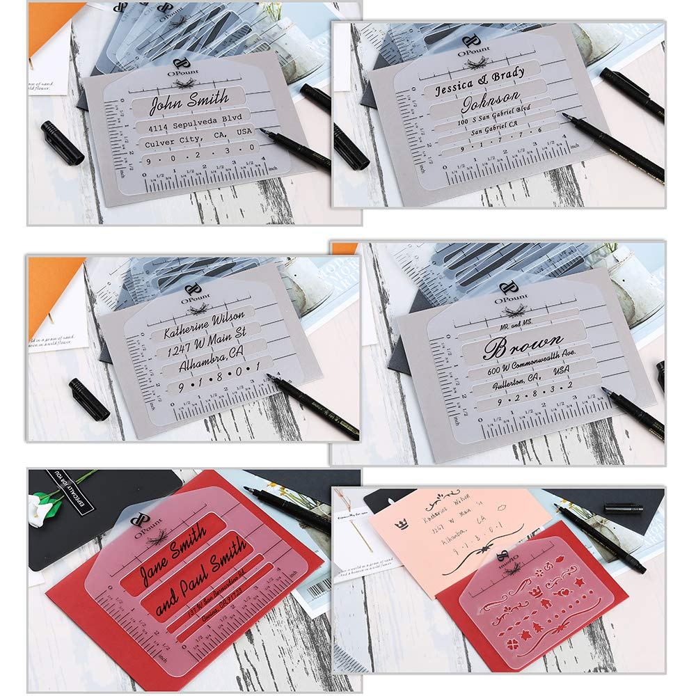 PP OPOUNT 12 Pcs Envelope Addressing Guide 10 Style Envelope Addressing Guide Stencil Templates Sewing 1 Style Mixed Pattern Stencils with Zipper Pouch Fits Wide Range of Envelopes Thank You Card