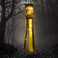 Mangas de Viento de Calabaza Bruja de Halloween con Luces LED Amarillas Cálidas Adornos Colgantes de Exterior de…
