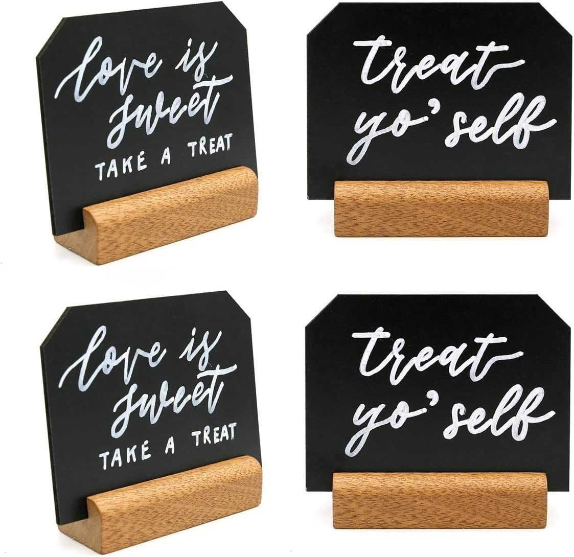 UNIQOOO Set of 6 Blank Mini Chalkboard Signs with Rustic Wood Stands | Tabletop Chalk Board Price Tag Food Sign for Wedding Bakery Cafe Restaurant Retail Shop