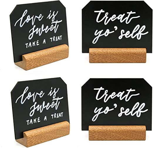 Mini Tabletop Chalkboard Signs with Rustic Wood Stands 5 x 6-inch Set of 6