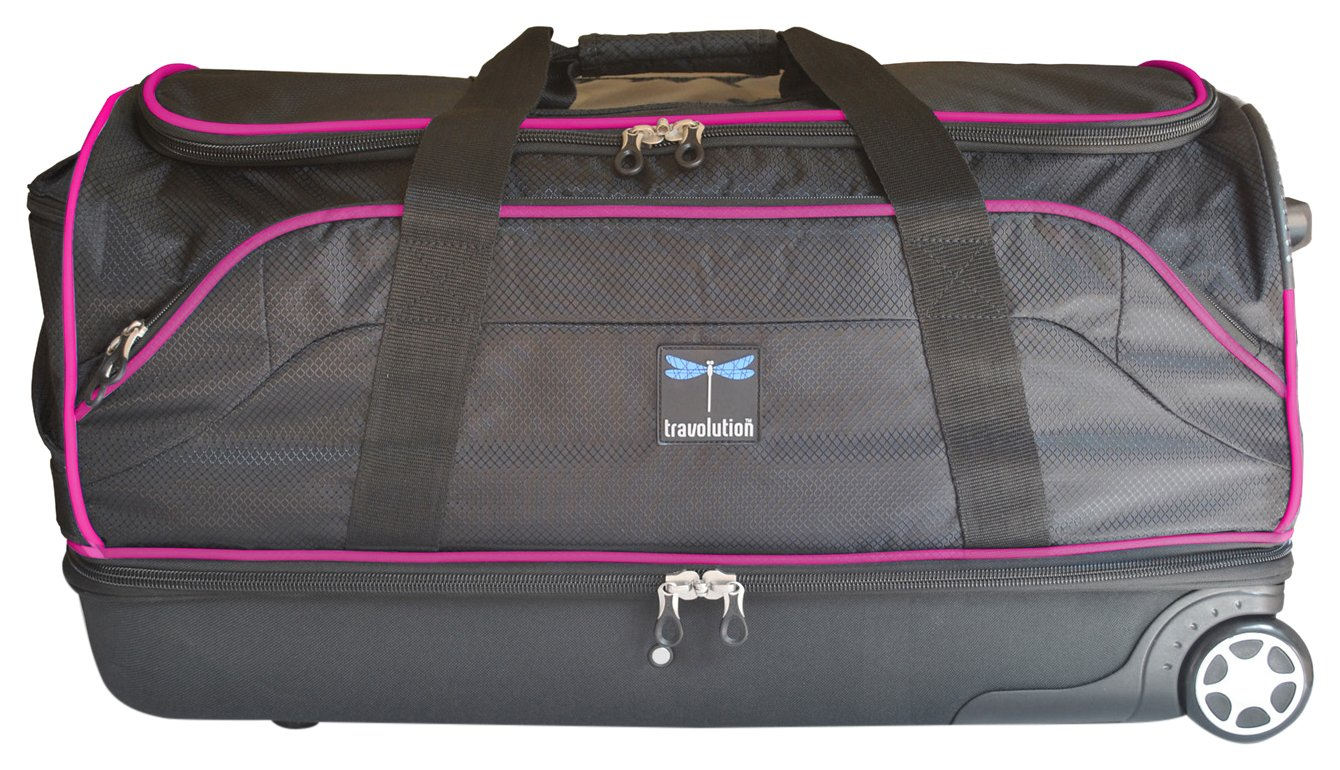 Travolution 28'' Wheeled Drop-Bottom Duffel with Garment Rack with Pink Trim by Travolution