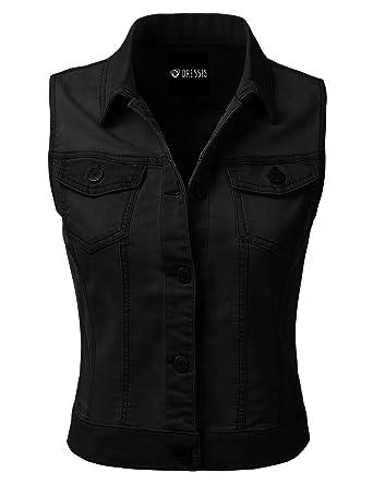 DRESSIS Womens Casual Sleeveless Denim Jean Cropped Vest Jacket BLACK S b84768b13f