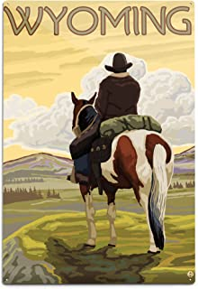 product image for Lantern Press Wyoming, Cowboy and Horse (12x18 Aluminum Wall Sign, Wall Decor Ready to Hang)
