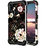 Lontect for Galaxy A10S Case (Not Fit A10) Floral Shockproof Heavy Duty 3 in 1 Hybrid Sturdy Protective Cover Case for Samsun