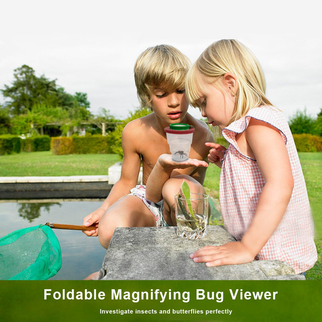 Magnifying Glass Compass Bug Viewer Flashlight incl Binoculars Cleaning Cloth edola 10Pack Outdoor Exploration Toys Educational Gift for Kids Whistle Tweezer Backpack Outdoor Exploration Kit