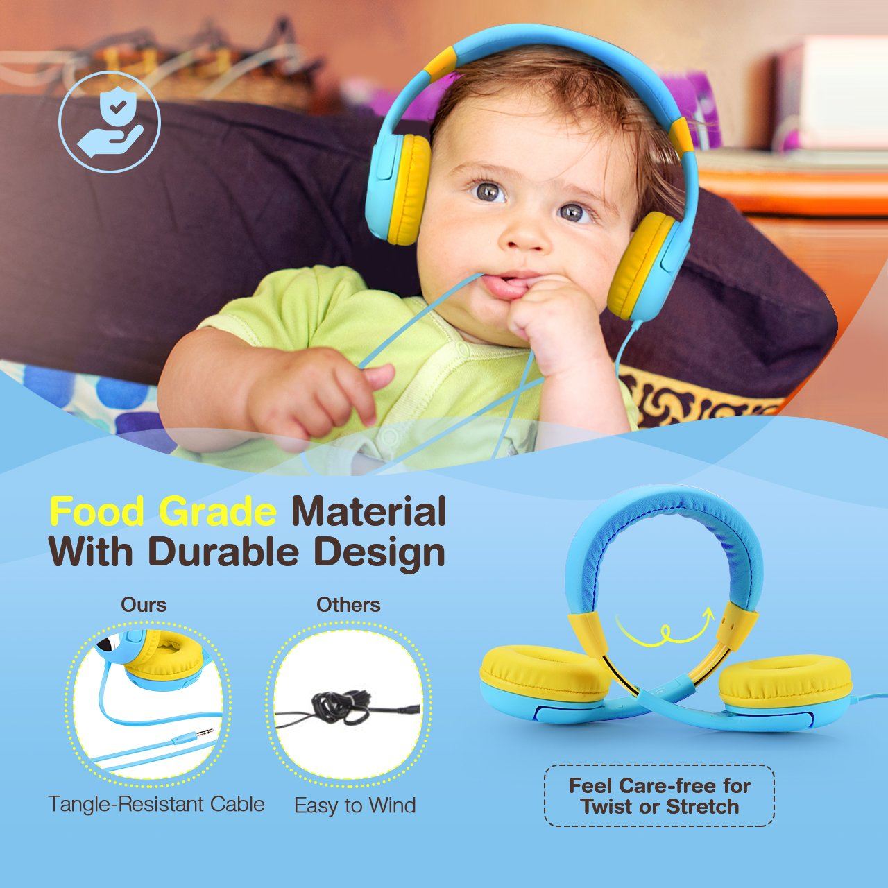 429adcae47e Mpow Kids Headphones with 85dB Volume Limited Hearing Protection & Music  Sharing Function, Kids Friendly Safe Food Grade Material, Tangle-Free Cord,  ...