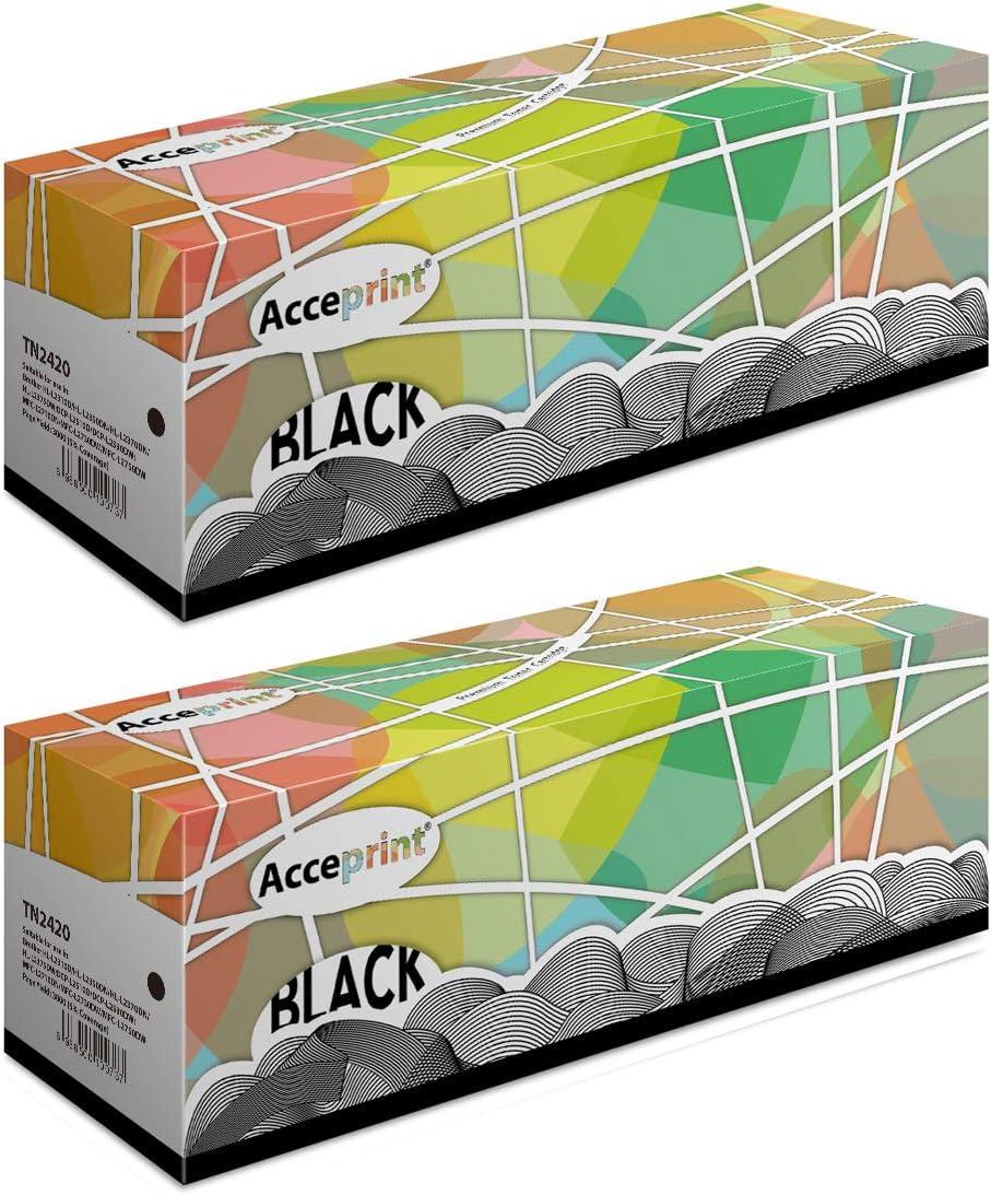 Acceprint TN2420 TN-2420 TN 2420 Paquete de 2 Cartuchos de t/óner Negro para Brother HL L2310D HL L2350DN HL L2370DN HL L2375DW DCP L2510D DCP L2530DW MFC L2710DN MFC L2730DW MFC L2750DW