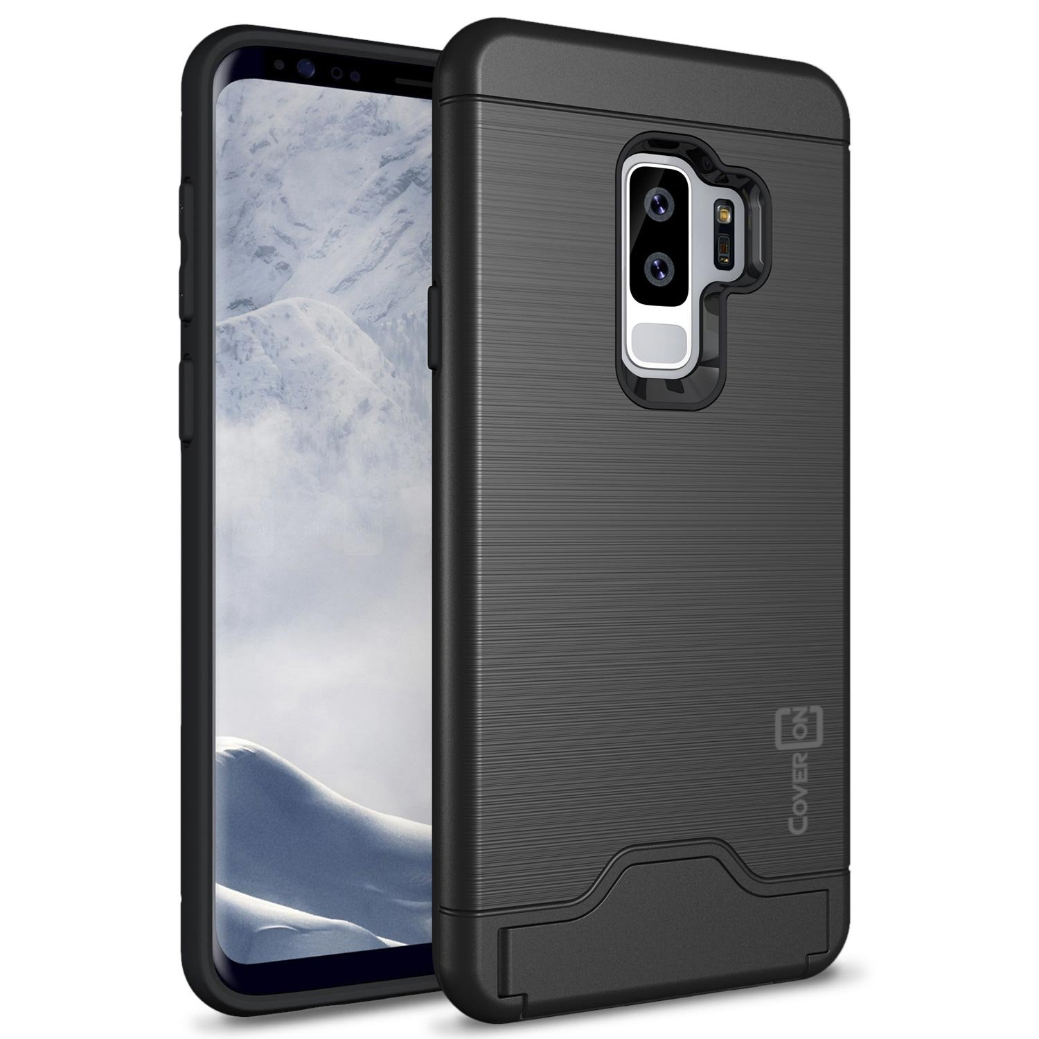 Coveron Galaxy S9 Plus Case With Card Holder Iphone Xr Spigen Anti Shock Slot Slim Armor Cs Casing Black Securecard Series Protective Hard Hybrid Phone Cover Credit For Samsung