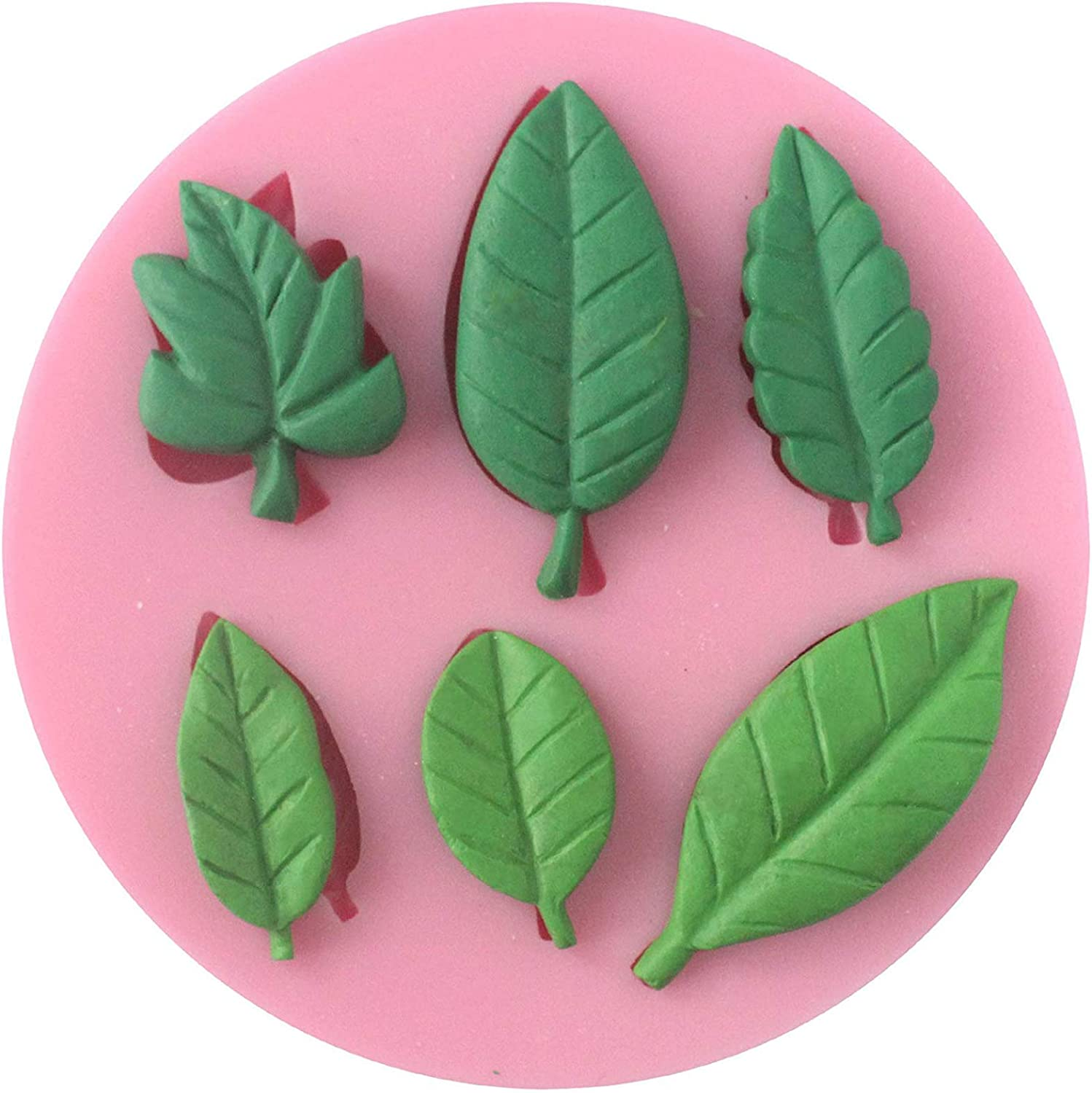 Funshowcase 6 Leaves Fondant Leaf Candy Mold for Sugar Paste, Chocolate, Fondant, Butter, Resin, Polymer Clay, Wax, Soap, Crafting Projects and Cake Decoration