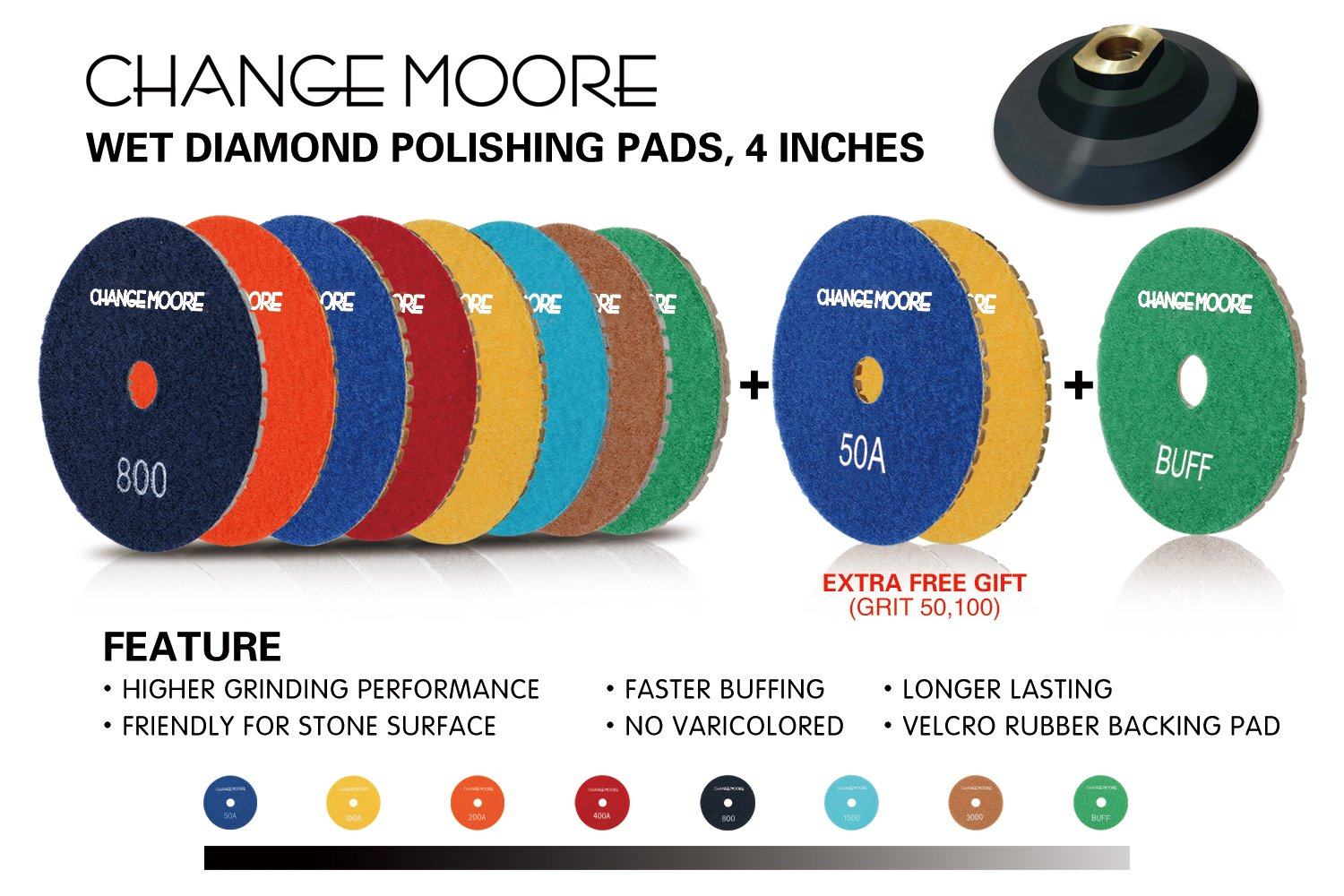 CHANGE MOORE Wet Diamond Polishing Pads Set 4 Inch for Marble Travertine Concrete Quartz Countertop Floor Stone 10 PCS and 1 Velcro Rubber backing pad (5/8'' arbor) by CHANGE MOORE (Image #6)