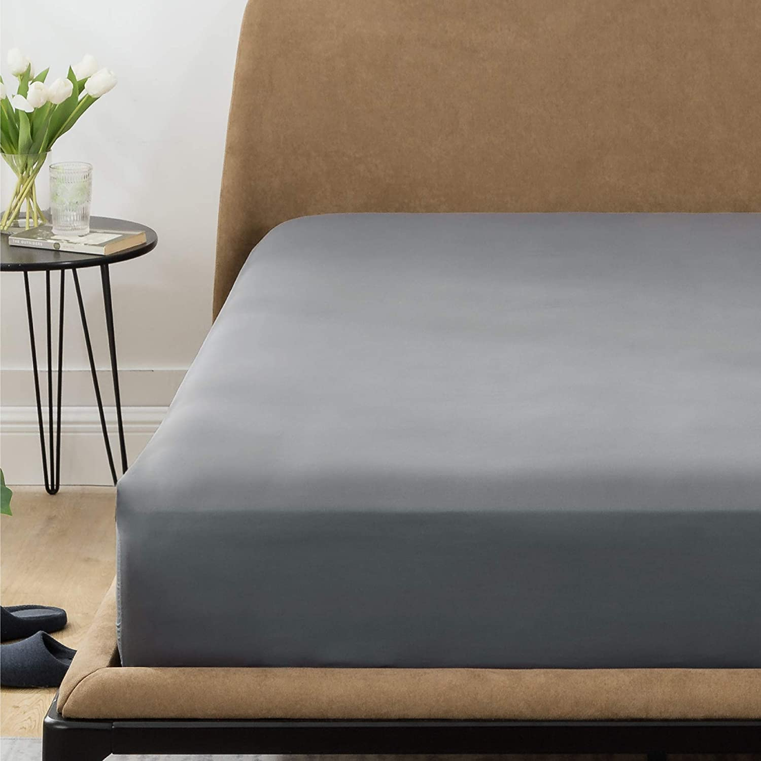Bedsure Fitted Sheet King Grey - Extra Soft Brushed Microfiber, Wrinkle & Fade Resistant, Deep Pocket Fitted Sheets for Mattress Up to 14 inches(King, Dark Grey)
