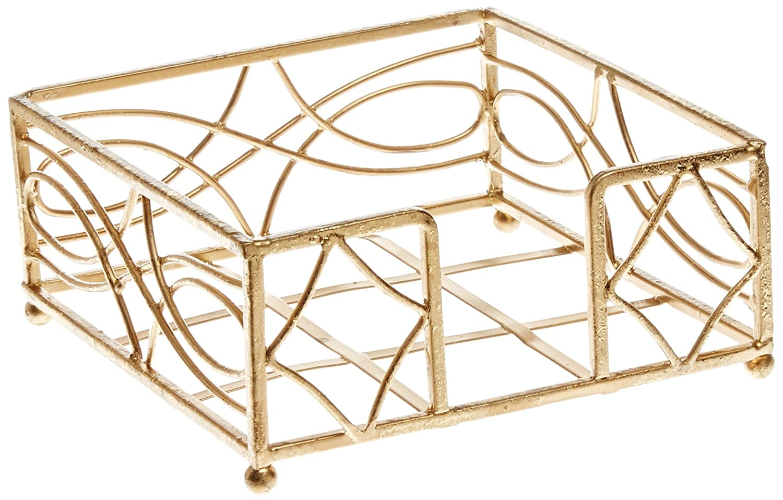 Boston International BID154 Cocktail Napkin Caddy, Wave Design in Gold Leaf Ideal Home Range