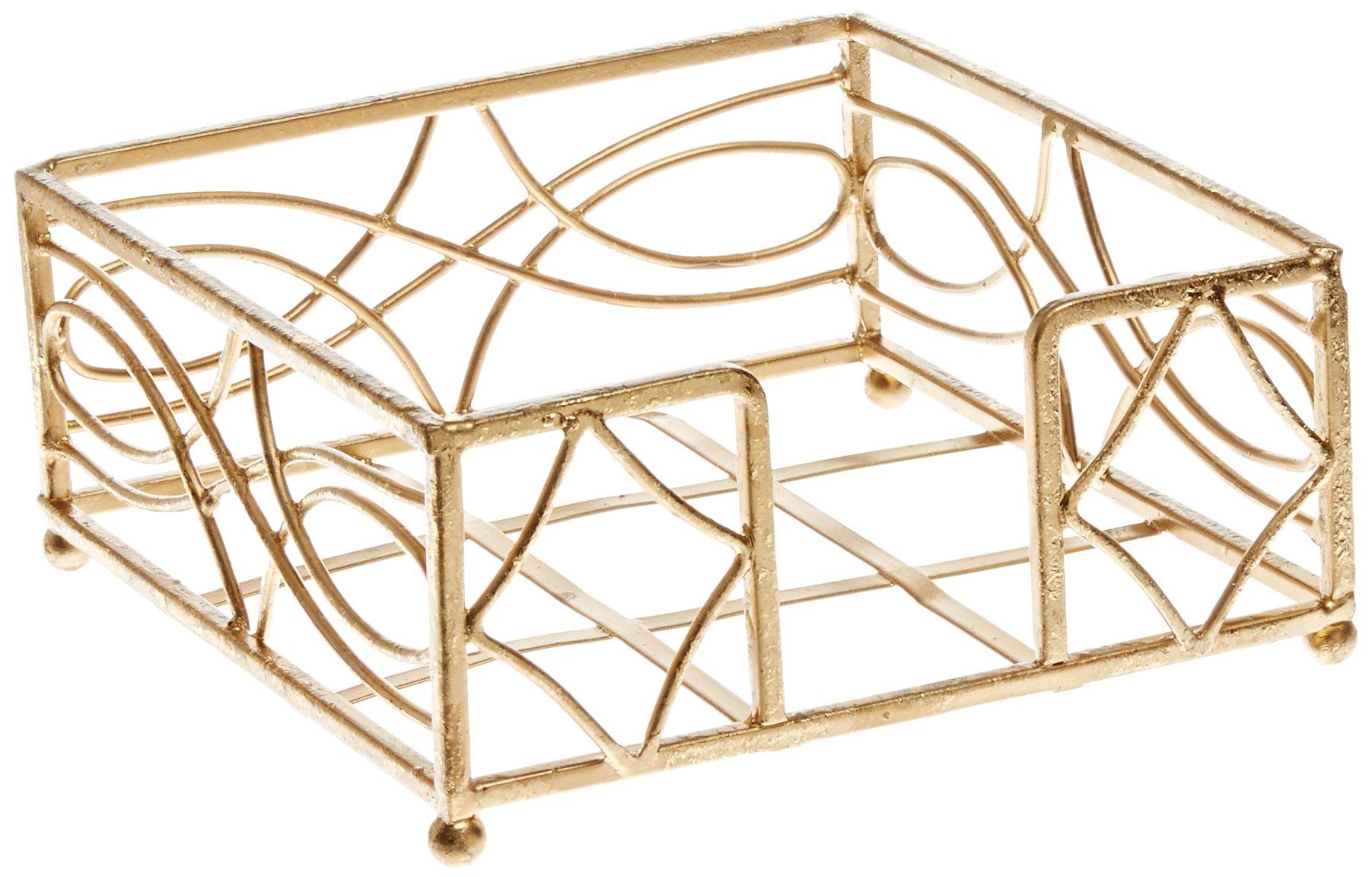 Boston International Cocktail Napkin Caddy, Wave Design in Gold Leaf by Boston International
