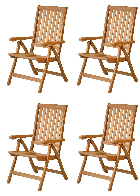 4 x Premium Hochlehner Pisa aus Teak-Holz | ✓ Edler Gartensessel ...