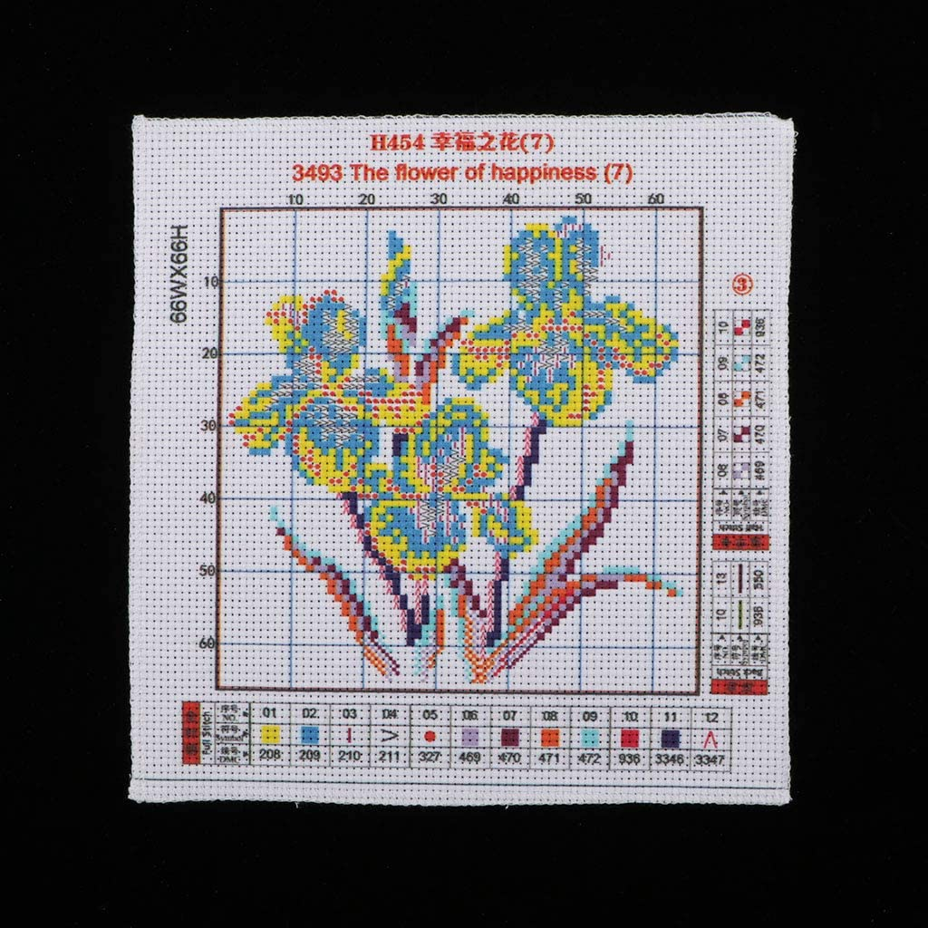 dailymall Cross Stitch Stamped Kits Quilt Pre-Printed Cross-Stitching Patterns for Beginner Kids Adults 17x17cm 14CT Floral Embroidery Crafts Needlepoint Starter Kits
