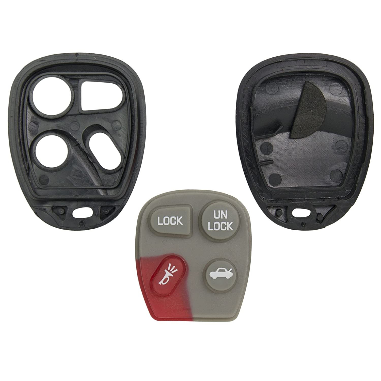 Keyless2Go New Replacement Shell Case and 4 Button Pad for Remote Key Fob FCC KOBLEAR1XT KOBUT1BT Shell ONLY