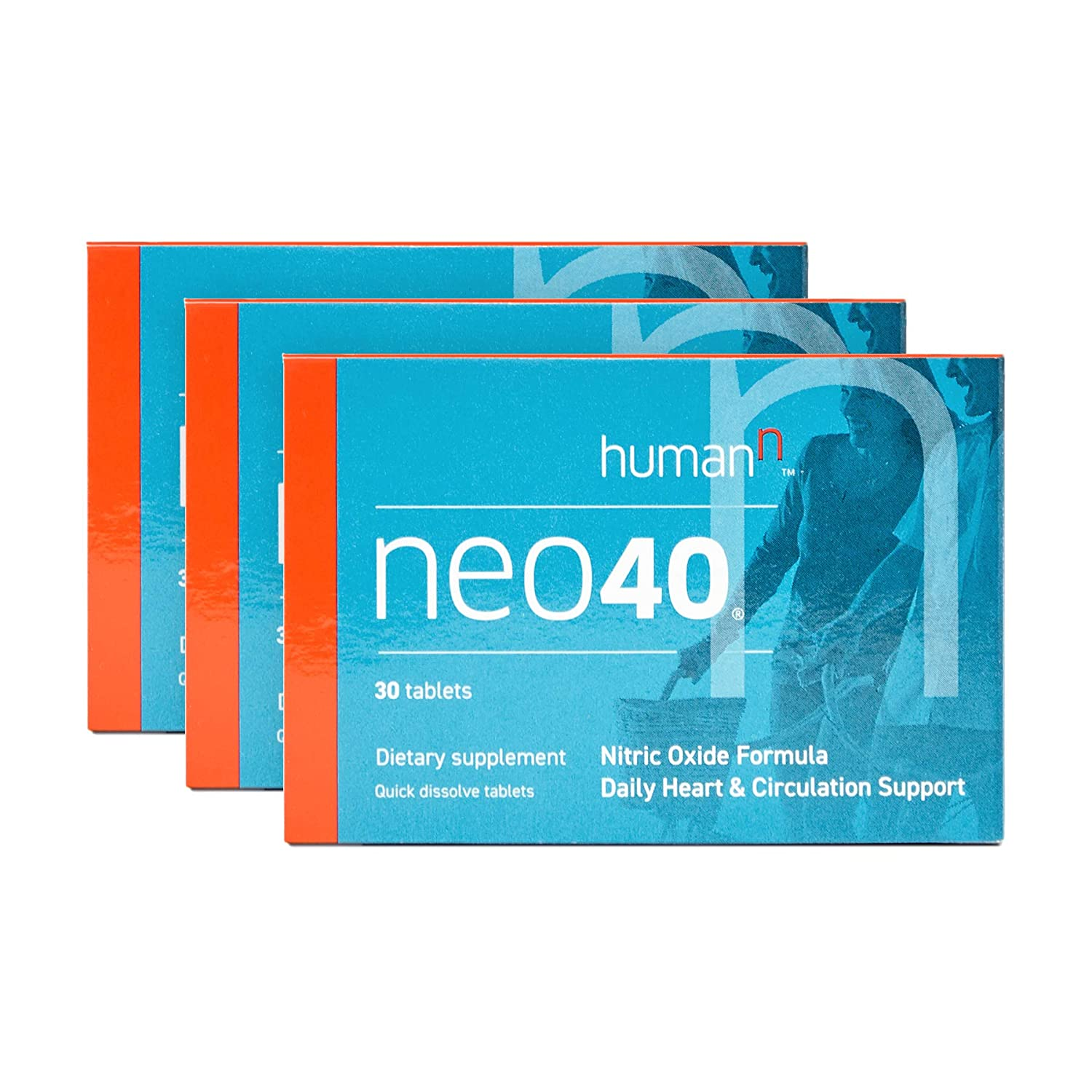 HumanN Neo40 Daily Heart and Circulation Support Nitric Oxide Boosting Supplement 30 Tablets, 3-Pack