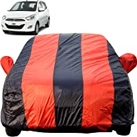Autofact Car Body Cover for Hyundai i10 (Mirror Pocket Fabric, Triple Stiched, Fully Elastic, Red/Blue Color)