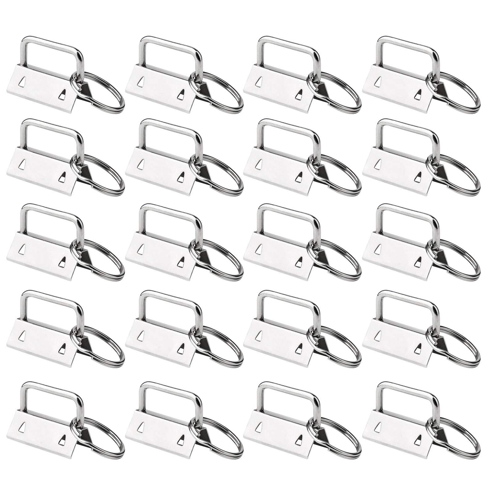 50 Sets Key Fob Hardware Key Fob Keychain Wristlet with Split Ring 1.25 Inch by HRLORKC